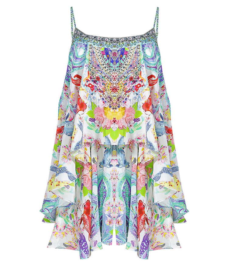 Camilla Flared Playsuit with Overlay Dragon Divinity