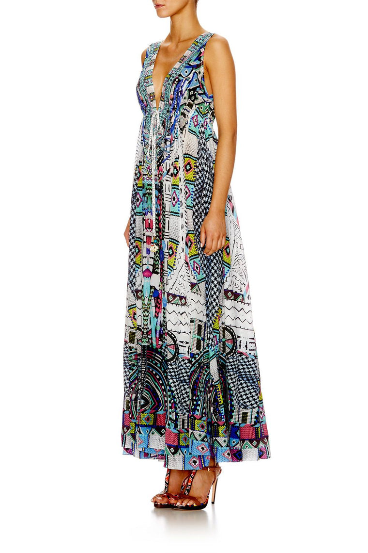 Camilla Maasai Mosh Long V Neck Drawstring Dress