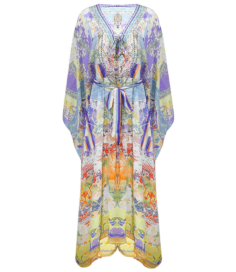Camilla Split Hem Lace Up Kaftan Girl In The Kimono