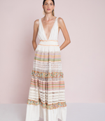 Maxi Multi Dress with Macrame and Ruffle