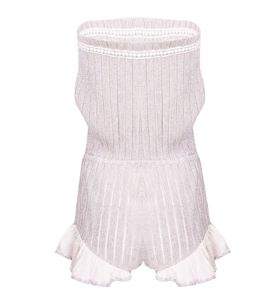 CHIO Cotton & Silver Lurex Knit Romper
