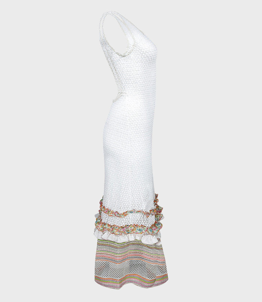 Crochet Long Tube Dress with Multi Ruffle Finishing