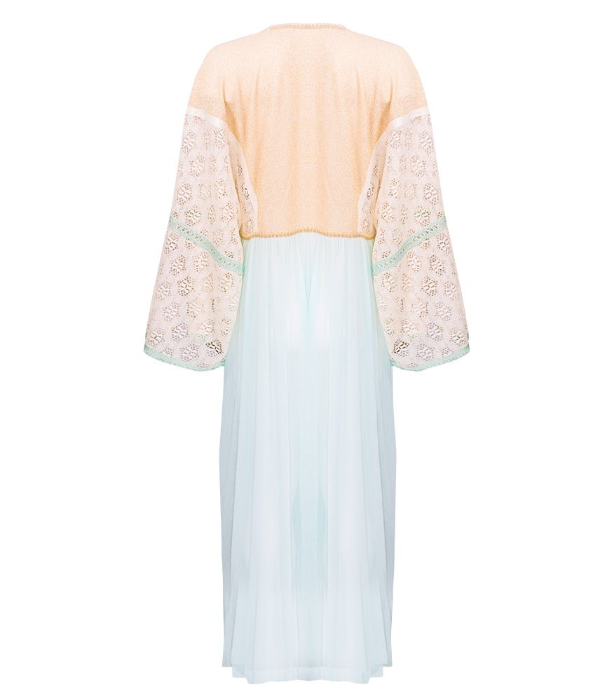 CHIO Kaftan with Lace Sleeves, Gold Lurex Tulle Detail