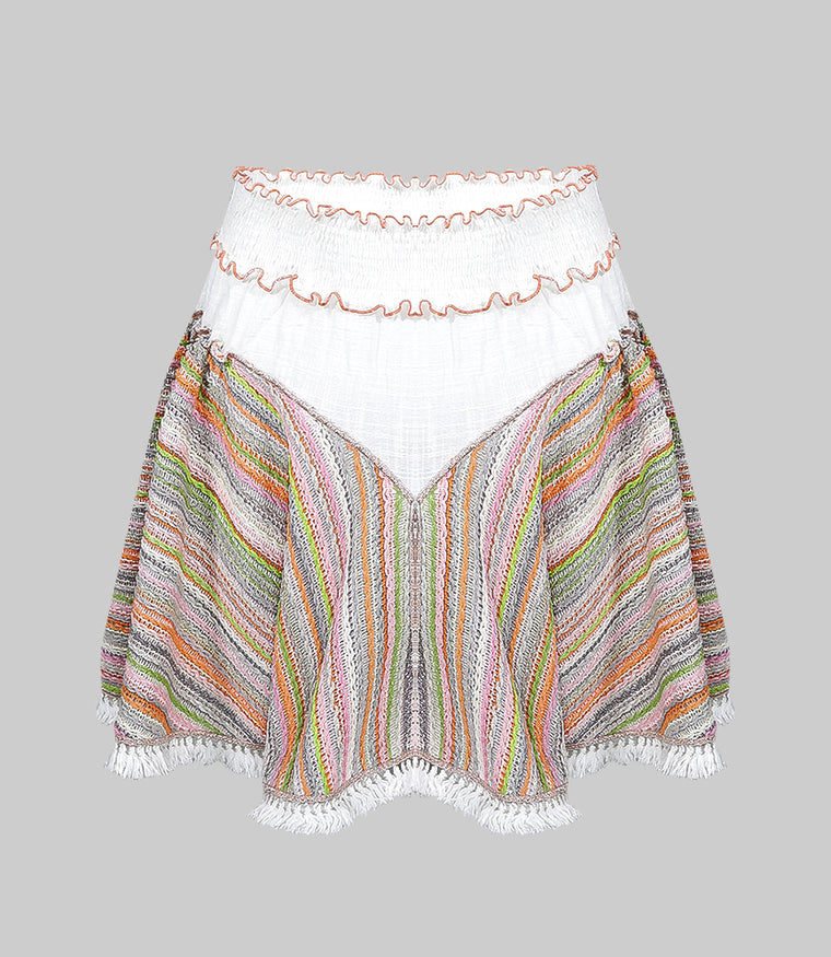 Knit Multi Skirt with Fringe