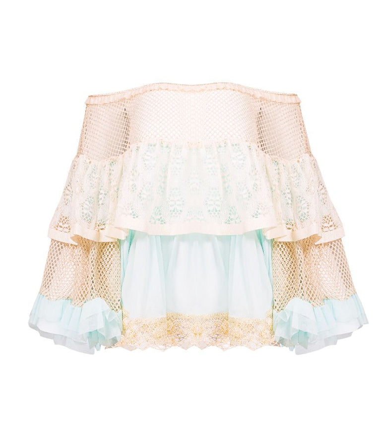 CHIO Ruffle Top with Tulle, Mesh & Gold Lurex Lace