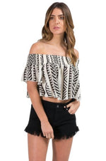 Black Tribal Top Off Shoulder