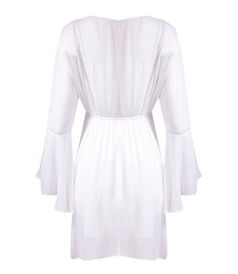Dress with Bell Sleeve With Neck Tie White