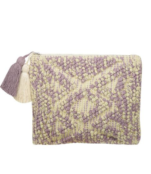 Fabric Pouch Off White/Purple