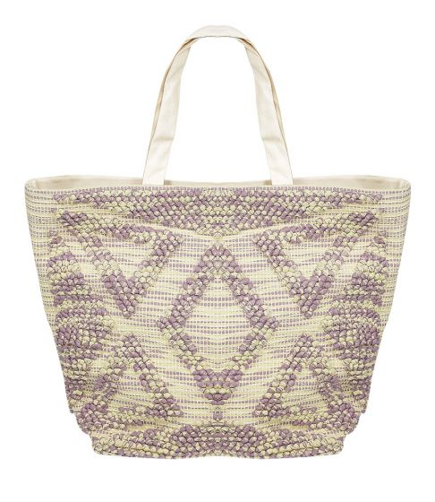 Fabric Tote Bag Off White/Purple
