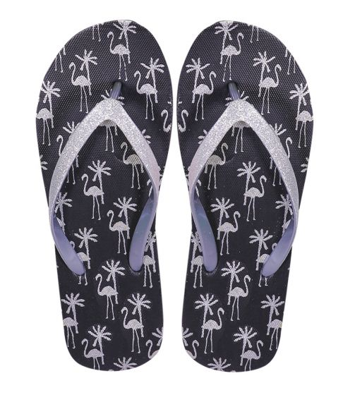 Flamingo Black and Silver Flip Flops