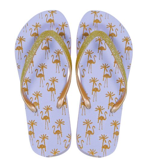 Flamingo White and Gold Flip Flops