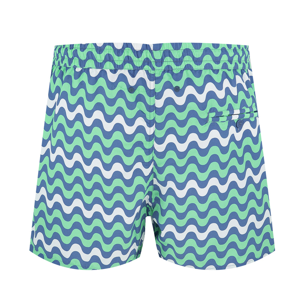 mens short length board shorts with stripes