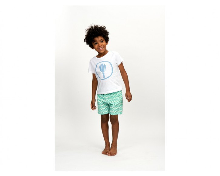 Boys T-Shirt Short Sleeve Bat White/Pale Blue
