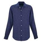 Dark Blue Linen Dress Shirt