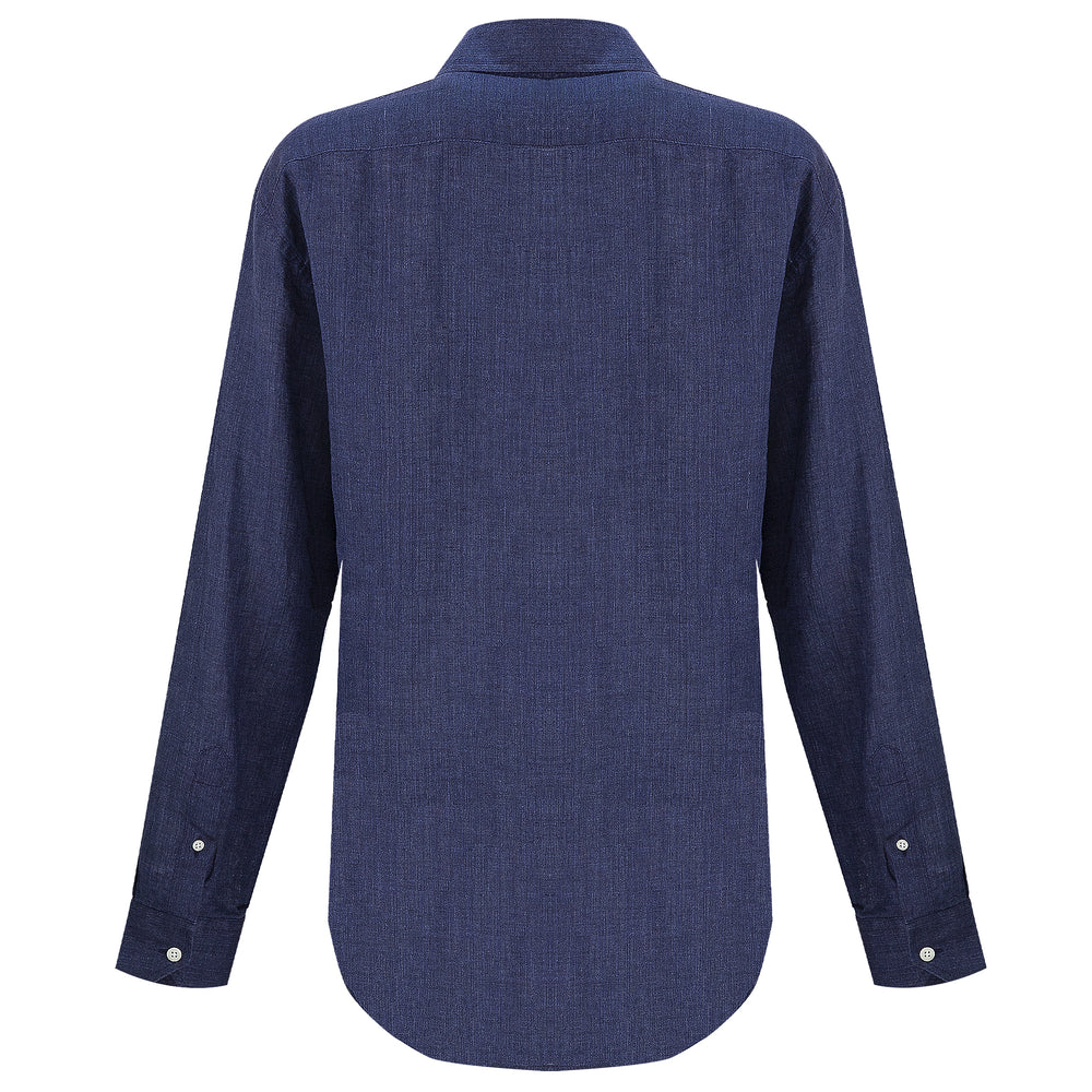 100% linen shirt for men in dark blue