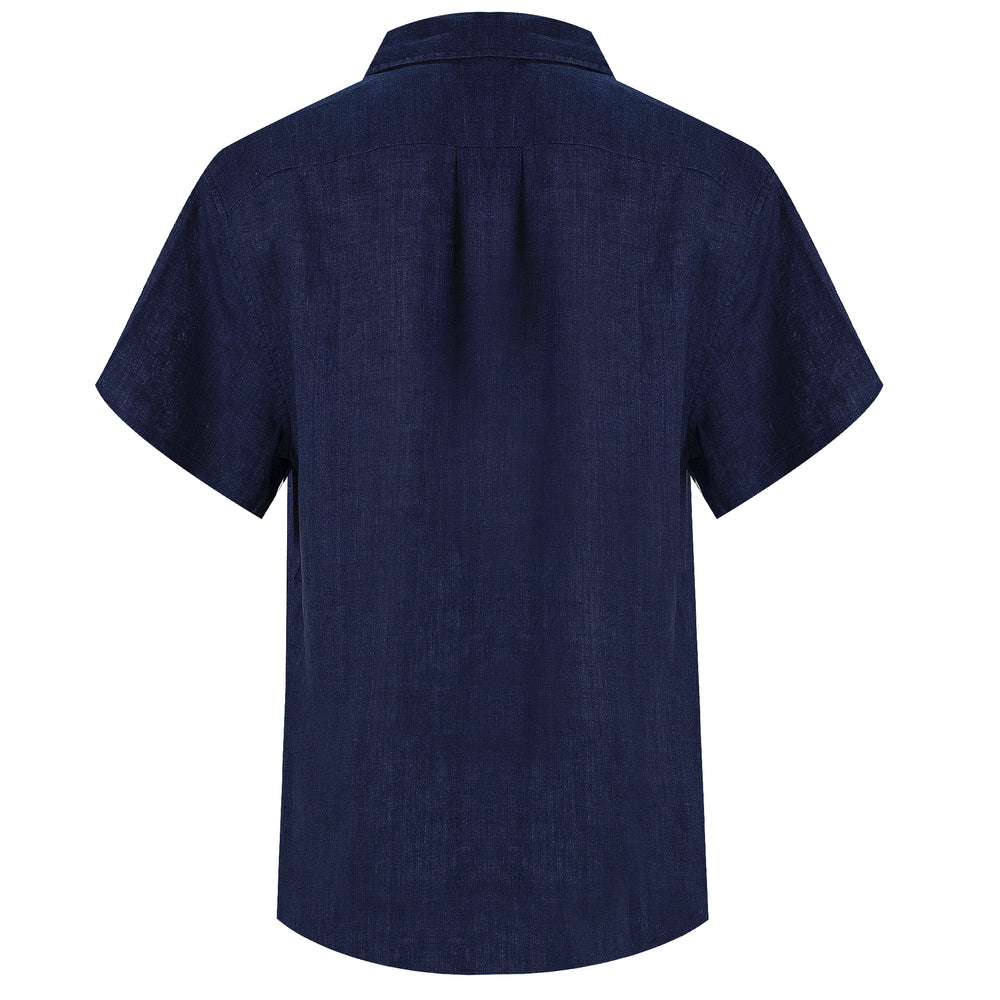 dark blue button up shirt