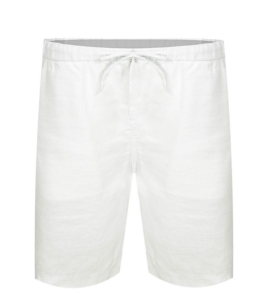Linen Shorts Sport Block White