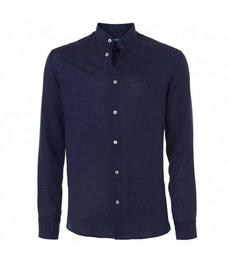 Band Collar Shirt in Dark Blue