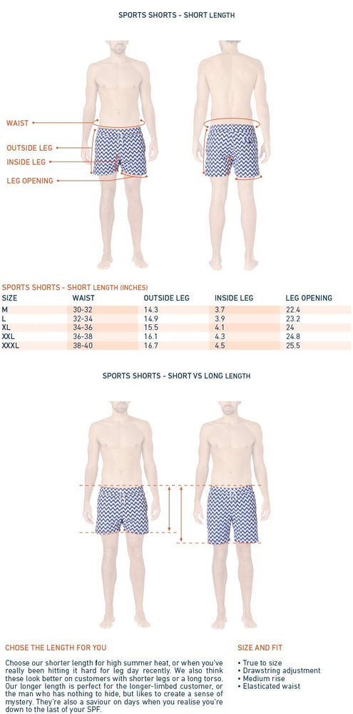 size chart for designer swim trunks
