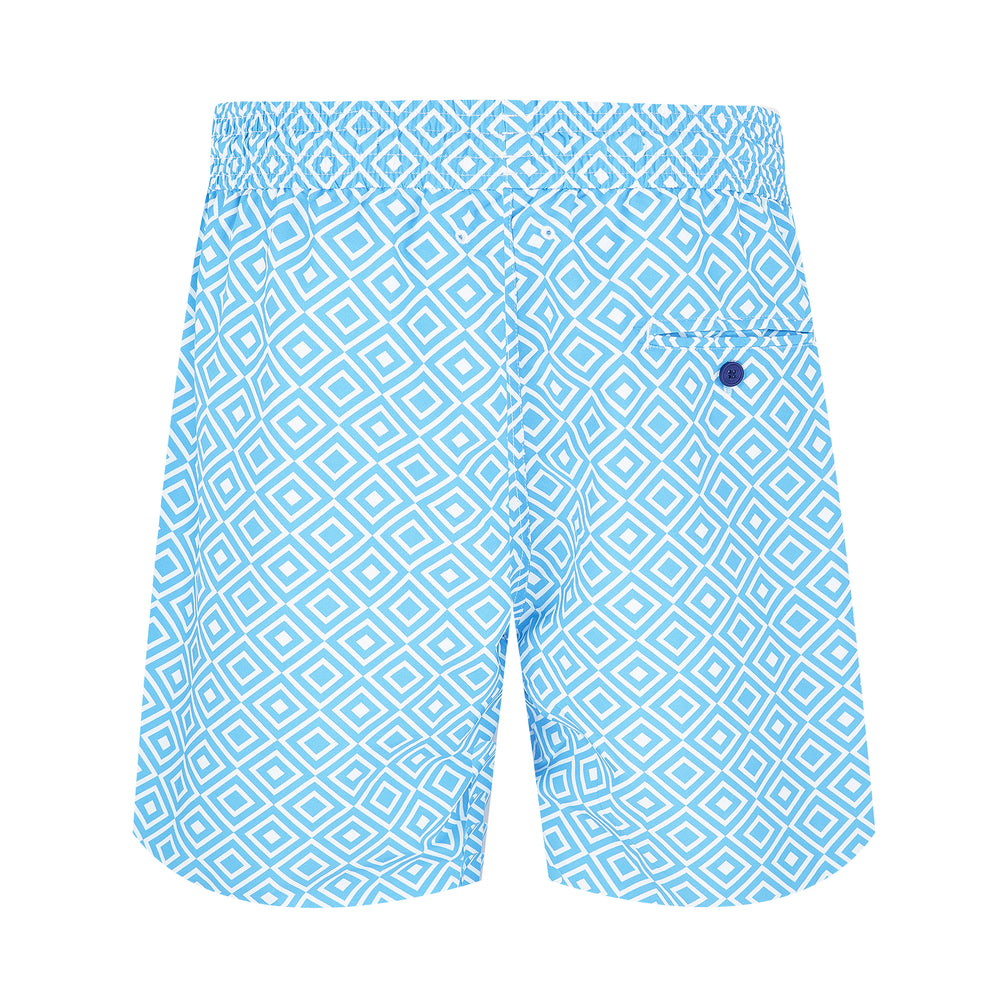 mens printed swim shorts in light blue