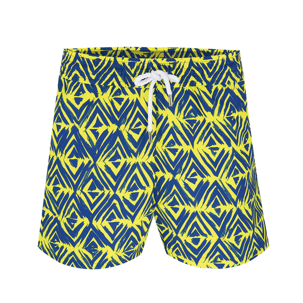 mens designer swim trunks in yellow