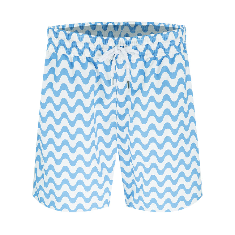 Mens Long Swim Shorts with Blue Stripe