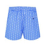 geo print blue swim shorts