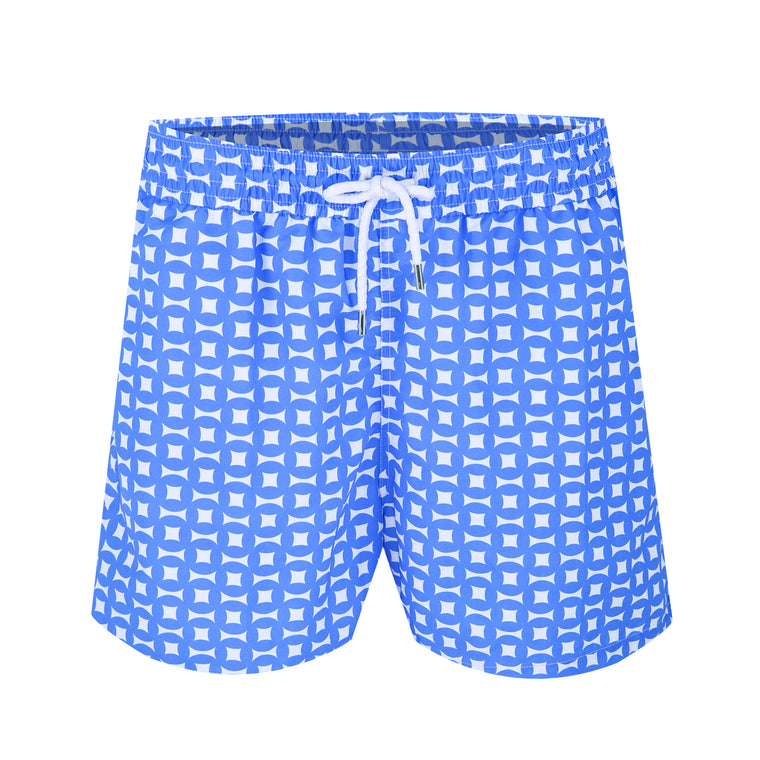 Blue Swim Shorts in Geometric Print