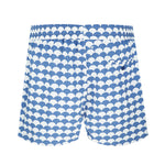 fish scale swim trunks in blue and white