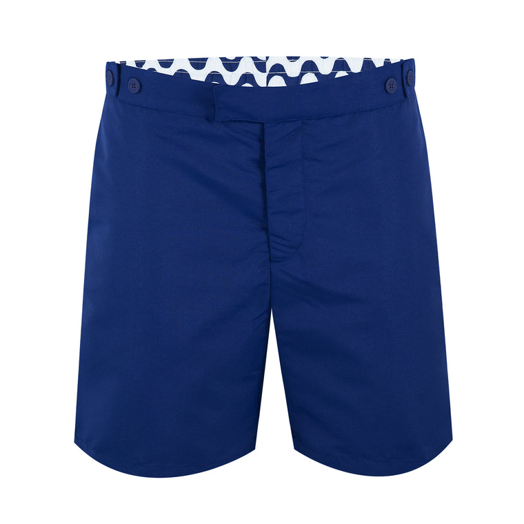 Mens Knee Length Tailored Swim Trunks in Navy Blue