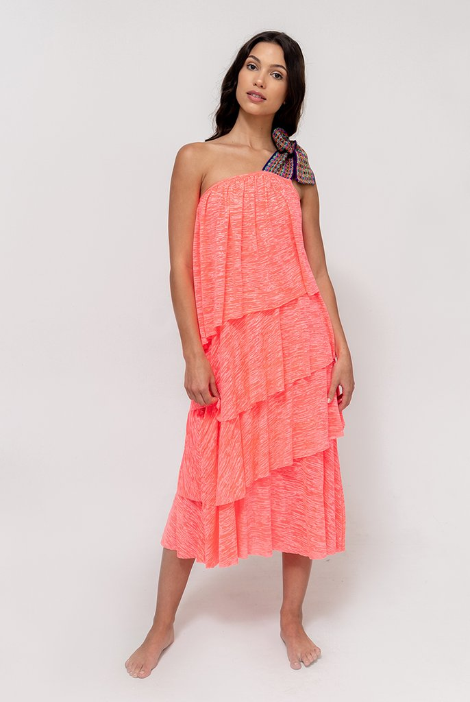 One Shoulder Bow Dress Coral