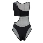 Black Cut Out Mesh One Piece