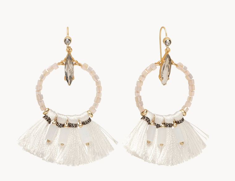 Iced Tassel Earrings White
