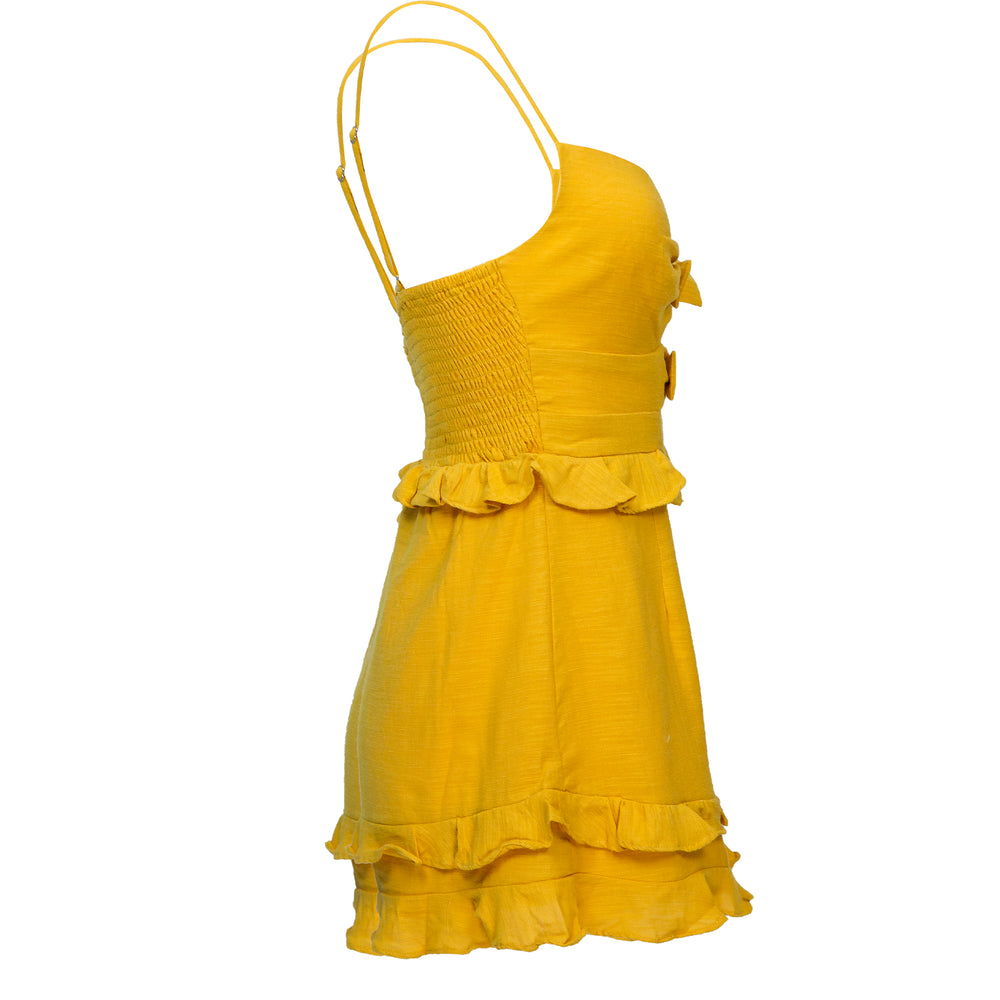 Cutout Bow Front Ruffle Trim Romper Mustard