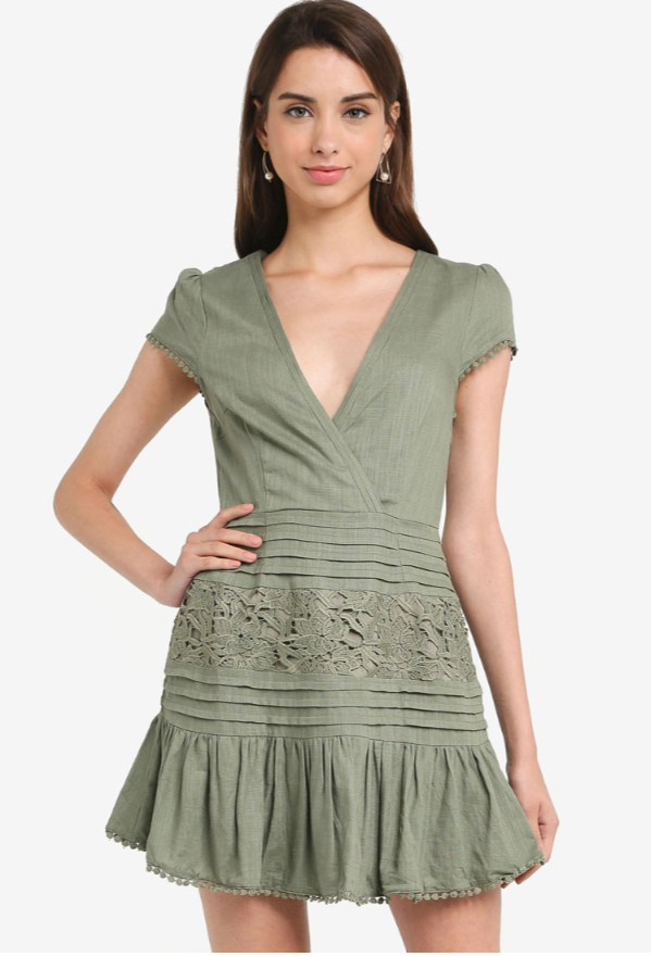 Lace Cap Sleeve Skater Dress Olive
