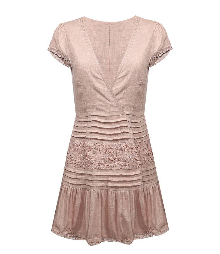 Lace Cap Sleeve Skater Dress Stone