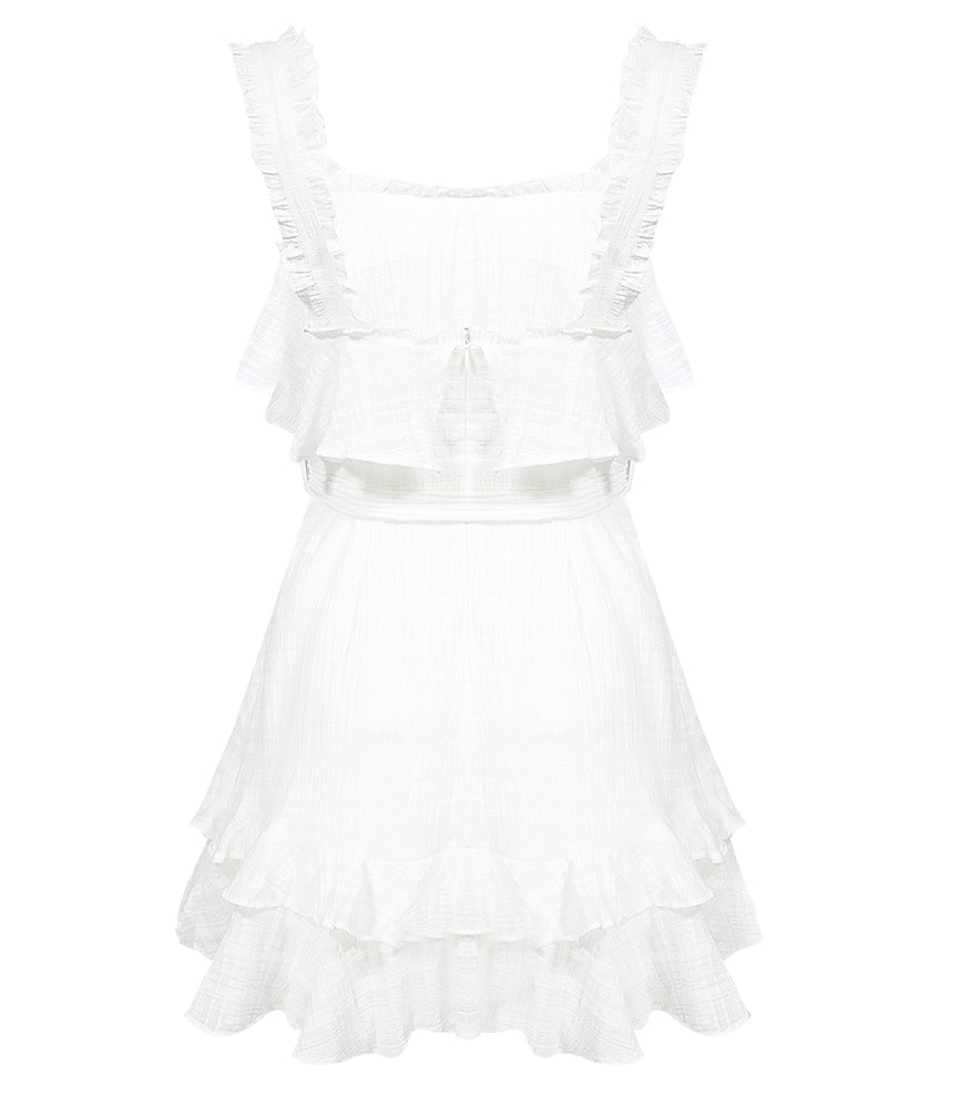 Ruffle Shoulder Flutter Skater Dress White