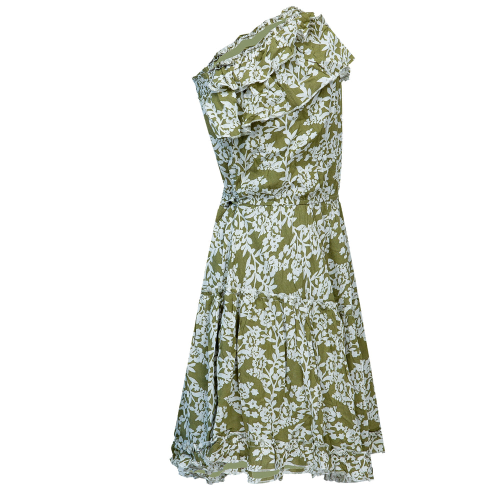 Ruffle Trim Floral Tube Dress Olive