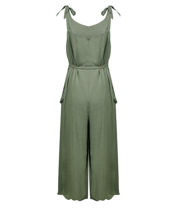 Shoulder Tie lace Trim Jumpsuit Khaki