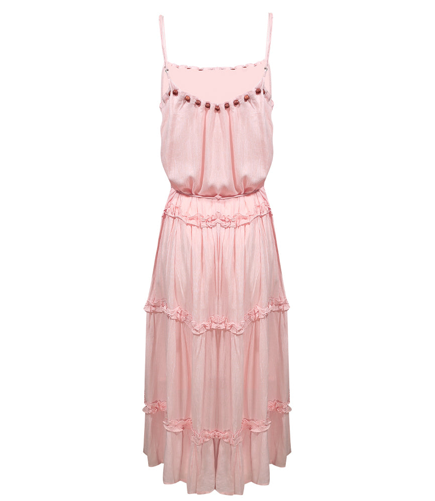 Spaghetti Strap Tiered Ruffle Midi Dress Nude