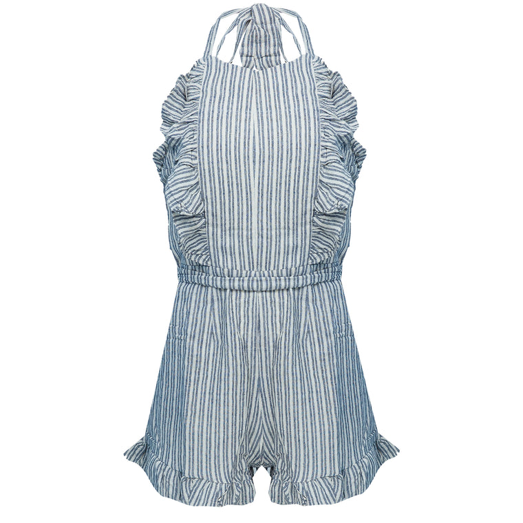 Striped Halter Tie Neck Ruffle Romper Navy