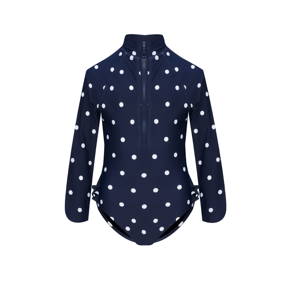 Mini Me Blake Surfsuit Navy Polka Dot