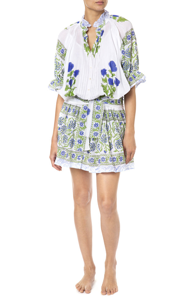 Blouson Dress With Poppy Block Print With Slip White/Klein Blue