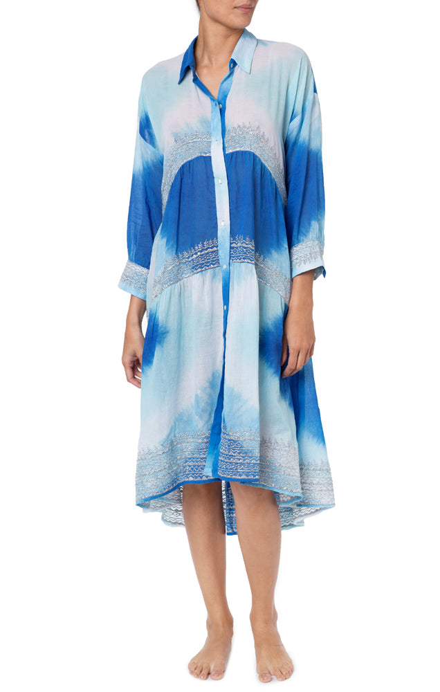 Diamond Tie Dye Oversized Shirt Dress Turq/Blue/Silver
