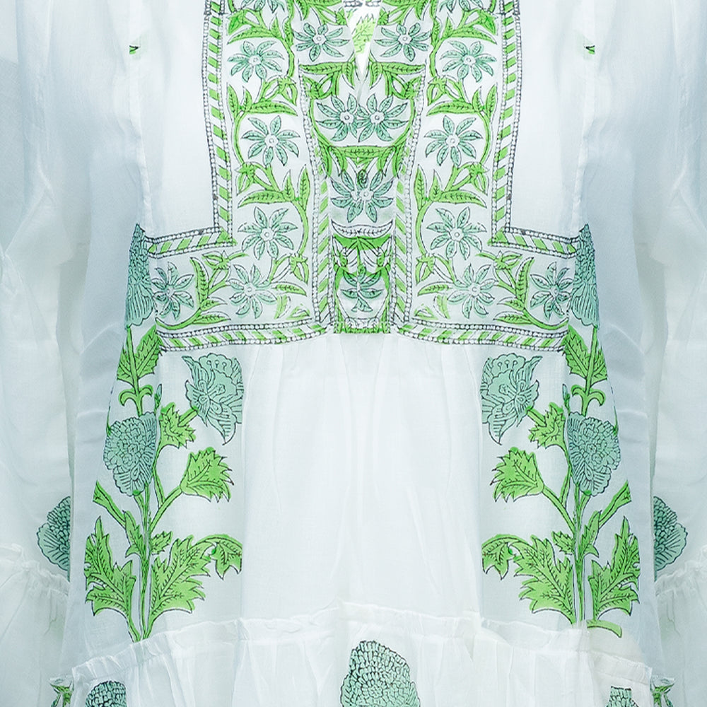 Flared Sleeve Dress With Poppy Block Print & Slip White/Mint