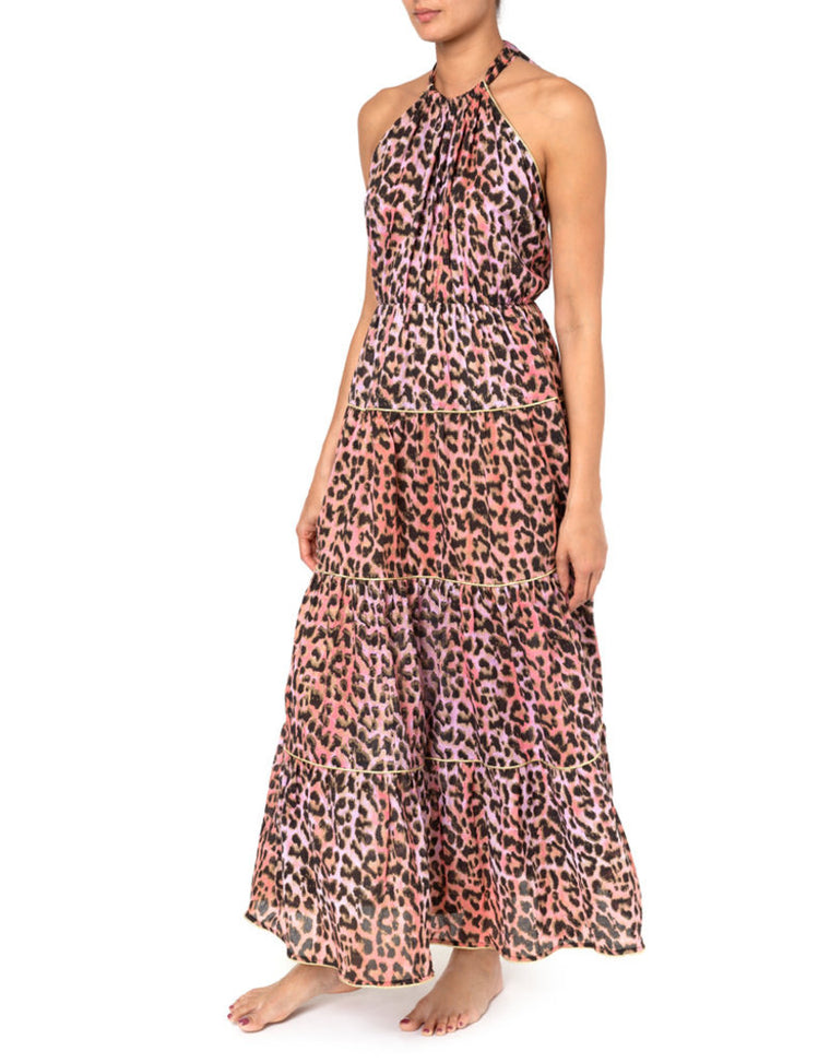 Tie Dye Leopard Print Halter Neck Maxi Dress Red/Pink