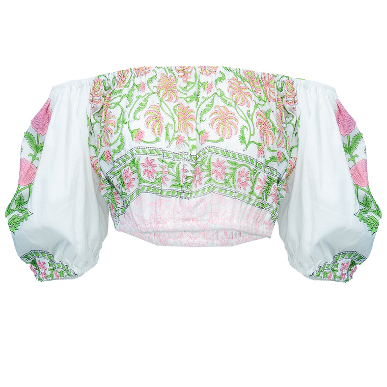 Mini Puff Top With Poppy Block Print-Lined White/Pink Neon