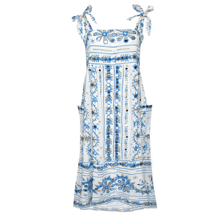 Nomad Print Tie Shoulder Dress Lined White/Blue