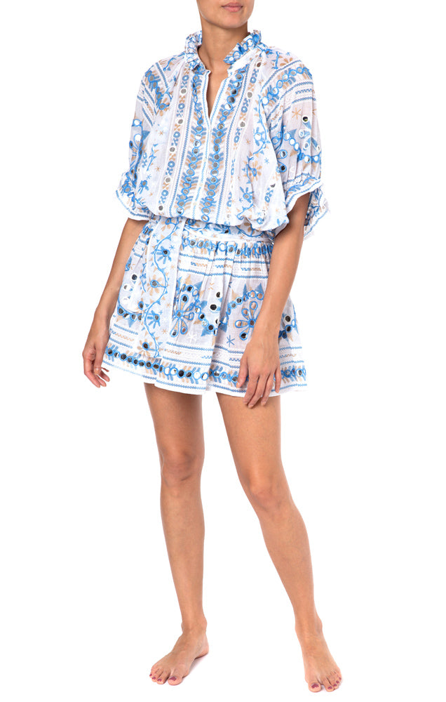 Nomad Print Blouson Dress White/Blue