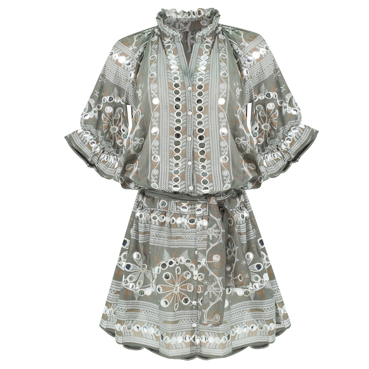 Nomad Print Blouson Dress Slate/White